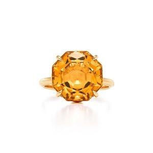 Tiffany & co. 18k Gold citrine sparkler Ring 5